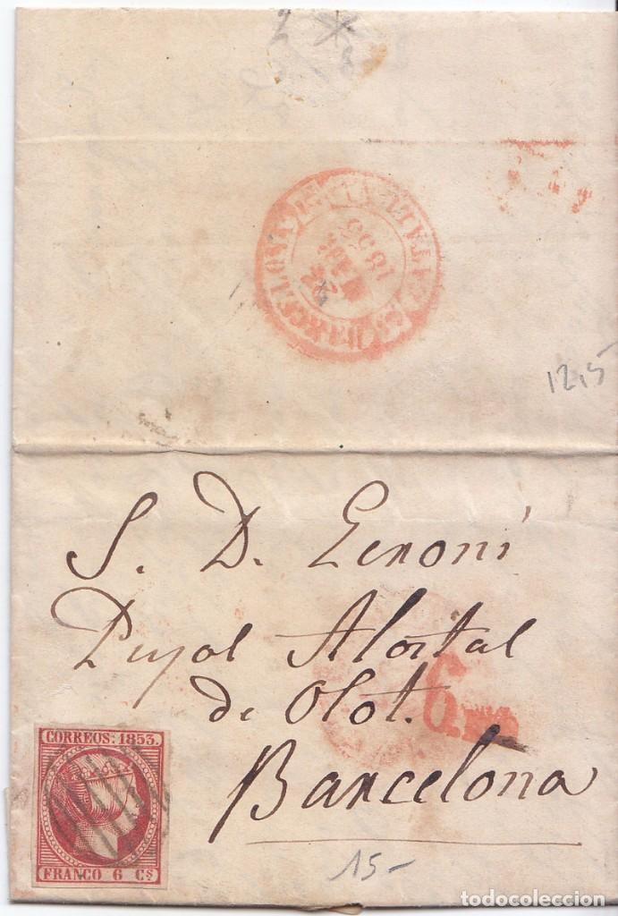BONITA CARTA ENTERA DE FIGUERES. GIRONA A BARCELONA. SOBREPORTE 6 MILÉSIMAS. 1853. PARRILLA. BAEZA (Sellos - España - Isabel II de 1.850 a 1.869 - Cartas)