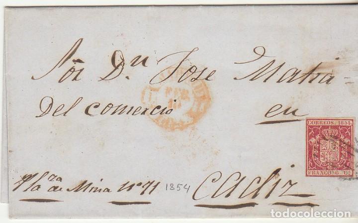 SELLO 24. ESCUDO DE ESPAÑA. MADRID A CÁDIZ . 1854. (Sellos - España - Isabel II de 1.850 a 1.869 - Cartas)