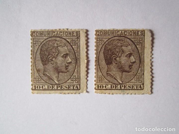 2 SELLOS COMUNICACIONES 1878 DE 10 CENTIMOS NUEVOS (Sellos - España - Isabel II de 1.850 a 1.869 - Nuevos)