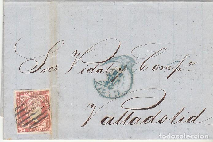 SELLO 48. CÁDIZ A VALLADOLID. 1856. (Sellos - España - Isabel II de 1.850 a 1.869 - Cartas)