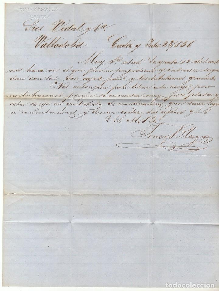 Sellos: sello 48. CÁDIZ a VALLADOLID. 1856. - Foto 3 - 69242193
