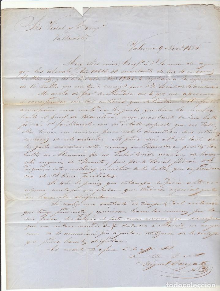 Sellos: sello 48. VALENCIA a VALLADOLID. 1856. - Foto 3 - 69242561