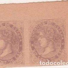 Sellos: L22-17 ESPAÑA 20 CENTIMOS DE 1867 EDIFIL Nº 92 EN PAREJA BORDE DE HOJA FALSO SEGUÍ. Lote 71615551