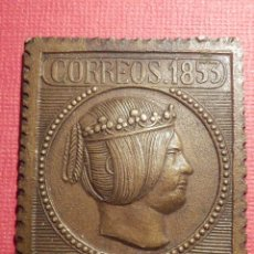 Sellos: SELLO CORREOS 1853 - ISABEL LA CATÓLICA - CERT DO - 6 REALES - EN BRONCE - 45 X 35 MM.. Lote 71629755