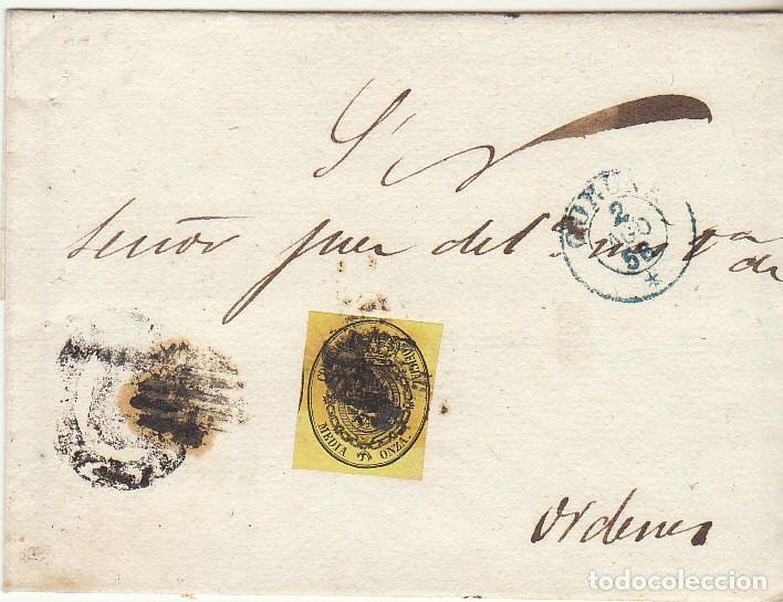 SELLO 35 . ESCUDO DE ESPAÑA : CORUÑA. 1856. (Sellos - España - Isabel II de 1.850 a 1.869 - Cartas)
