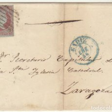 Sellos: ENVUELTA : SELLO 39. FILIGRANA LAZOS. CADIZ A ZARAGOZA. 1856.. Lote 72201279