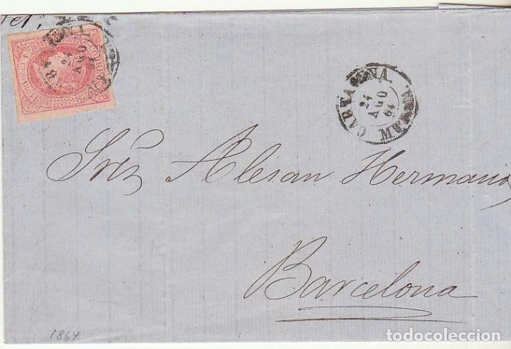 SELLO 64 .CARTAGENA A BARCELONA. 1864. (Sellos - España - Isabel II de 1.850 a 1.869 - Cartas)