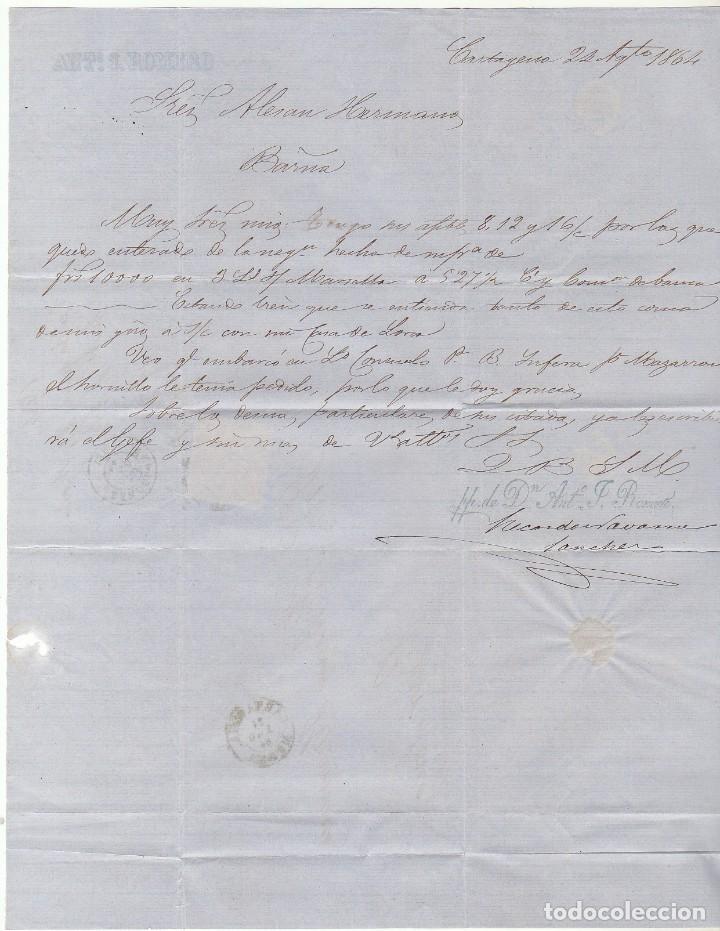 Sellos: Sello 64 .CARTAGENA a BARCELONA. 1864. - Foto 3 - 72448007