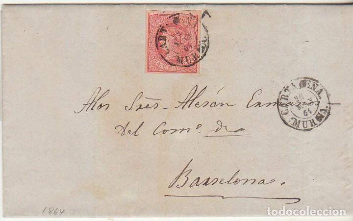 SELLO 64 . CARTAGENA A BARCELONA. 1864. (Sellos - España - Isabel II de 1.850 a 1.869 - Cartas)