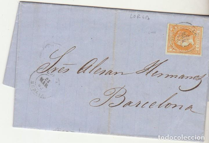 SELLO 52 . ISABEL II.: LORCA A BARCELONA. 1862. (Sellos - España - Isabel II de 1.850 a 1.869 - Cartas)