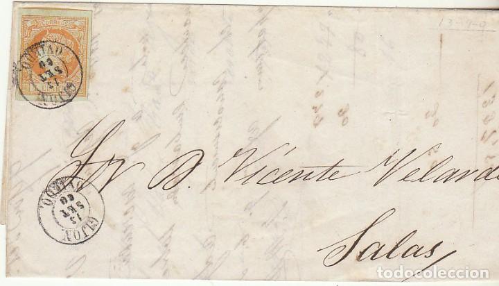 FRONTAL : SELLO 52. ISABEL II. GIJON A SALAS. 1860. (Sellos - España - Isabel II de 1.850 a 1.869 - Cartas)