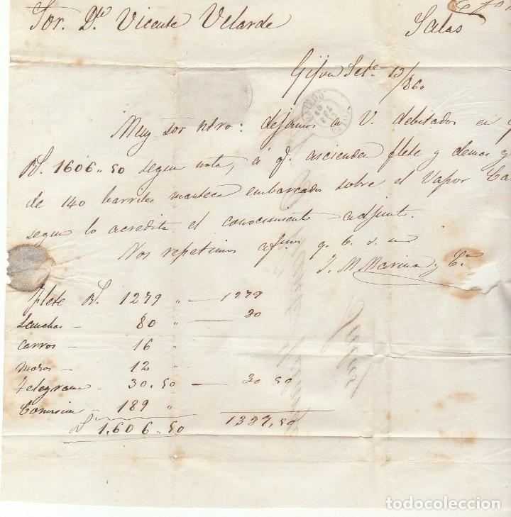 Sellos: FRONTAL : sello 52. ISABEL II. GIJON a SALAS. 1860. - Foto 2 - 72957103
