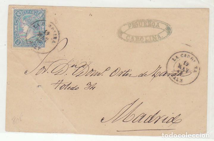 FRONTAL . SELLO 75 (SELLOS DENTADOS): LA CAROLINA A MADRID. 1865. (Sellos - España - Isabel II de 1.850 a 1.869 - Cartas)