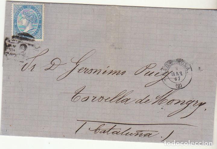 ENVUELTA. SELLO 88. BARCELONA A TORRELLA DE MONTGRY. (GERONA). 1867. (Sellos - España - Isabel II de 1.850 a 1.869 - Cartas)