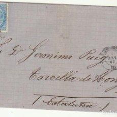 Sellos: ENVUELTA. SELLO 88. BARCELONA A TORRELLA DE MONTGRY. (GERONA). 1867.. Lote 73090467