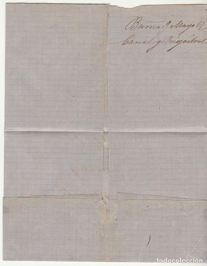 Sellos: ENVUELTA. Sello 88. BARCELONA a TORRELLA DE MONTGRY. (GERONA). 1867. - Foto 3 - 73090467