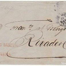 Sellos: FRONTAL . SELLO 88. BARCELONA A RIVADEO (LUGO). 1867.. Lote 73094283