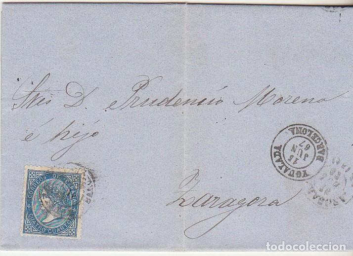 SELLO 88. YGUALADA A ZARAGOZA. 1867. (Sellos - España - Isabel II de 1.850 a 1.869 - Cartas)