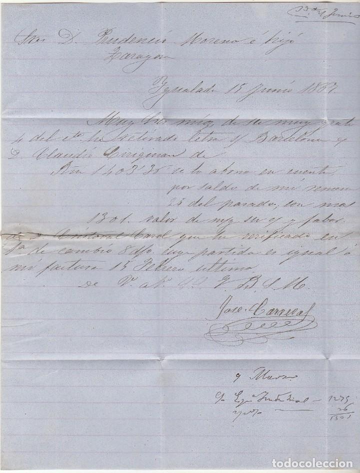 Sellos: Sello 88. YGUALADA a ZARAGOZA. 1867. - Foto 3 - 73096387