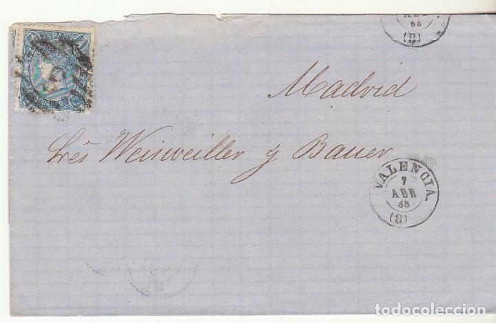 ENVUELTA : SELLO 75. VALENCIA A MADRID. 1865. (Sellos - España - Isabel II de 1.850 a 1.869 - Cartas)