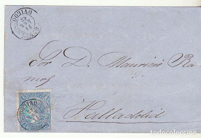 FRONTAL : SELLO 75. GIJON A VALLADOLID . 1865. (Sellos - España - Isabel II de 1.850 a 1.869 - Cartas)