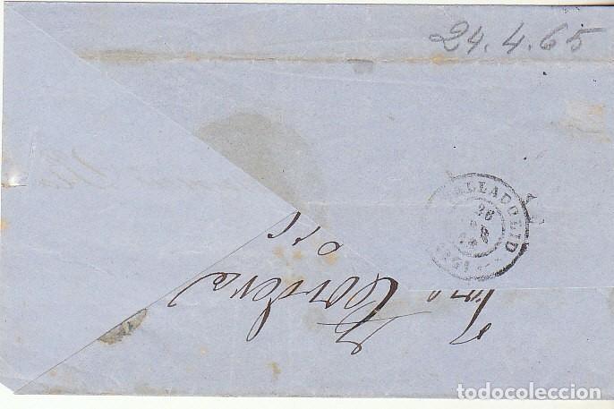 Sellos: FRONTAL : Sello 75. GIJON a VALLADOLID . 1865. - Foto 2 - 73123203