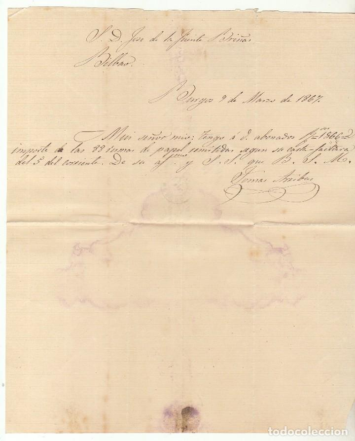 Sellos: Sello 88. BURGOS a BILBAO. 1867. - Foto 2 - 73136503