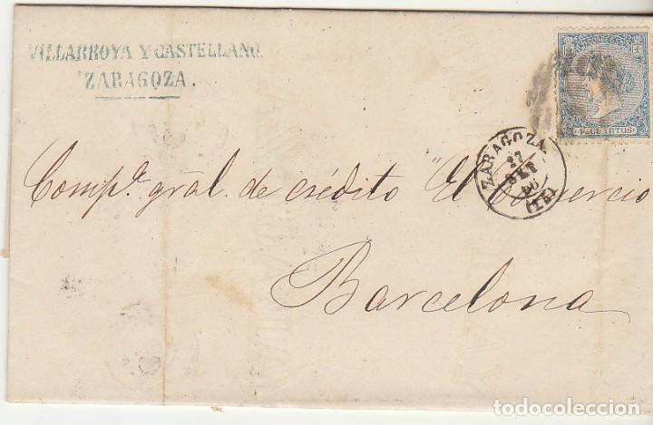 SELLO 81. ZARAGOZA A BARCELONA. 1866. (Sellos - España - Isabel II de 1.850 a 1.869 - Cartas)