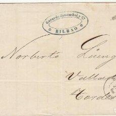 Sellos: ENVUELTA : SELLO 96. BILBAO A TORDESILLAS (SALAMANCA). 1868.. Lote 73629515