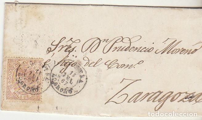 SELLO 96 . CERVERA (LOGROÑO) A ZARAGOZA . 1867. (Sellos - España - Isabel II de 1.850 a 1.869 - Cartas)