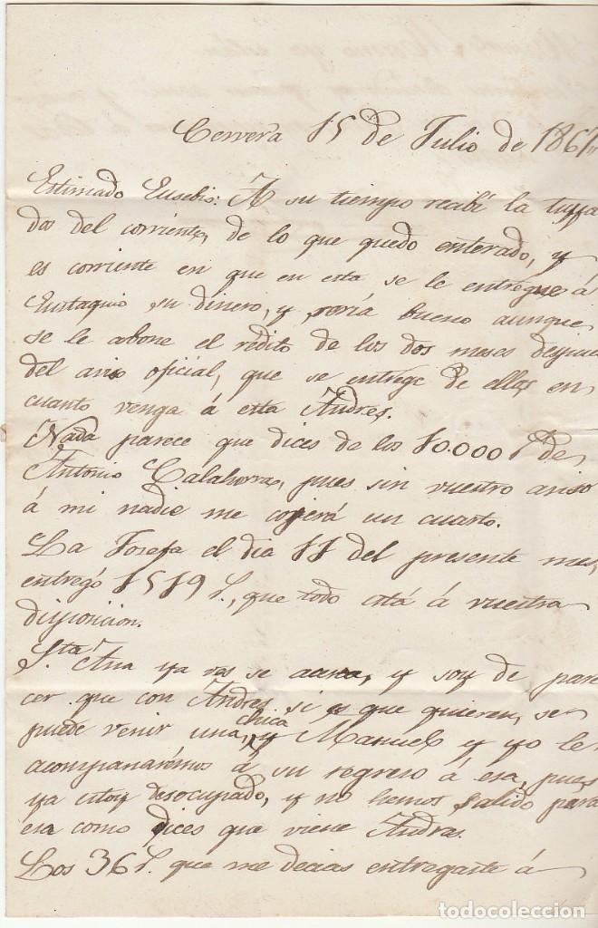 Sellos: Sello 96 . CERVERA (LOGROÑO) a ZARAGOZA . 1867. - Foto 3 - 73630575