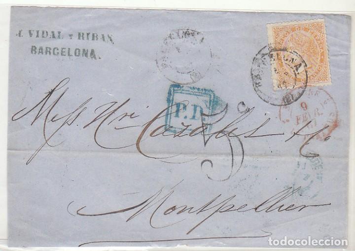 FRONTAL : SELLO 89. BARCELONA A MONTPELLIER . 1867. (Sellos - España - Isabel II de 1.850 a 1.869 - Cartas)