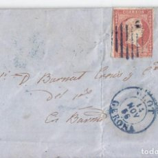 Sellos: CARTA DE OLOT. GIRONA. CATALUÑA CON FECHADOR Y PARRILLA AZUL. 1856. Lote 74711243