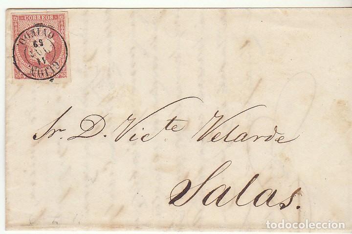 FRONTAL : SELLO 48 . GIJON A SALAS. 1859 (Sellos - España - Isabel II de 1.850 a 1.869 - Cartas)