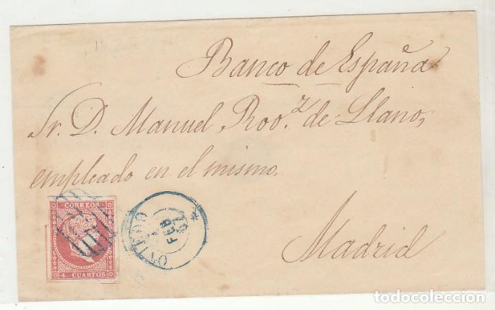 FRONTAL : SELLO 48 . OVIEDO A MADRID . 1857. (Sellos - España - Isabel II de 1.850 a 1.869 - Cartas)