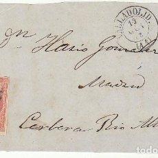 Sellos: FRONTAL : SELLO 48 . VALLADOLID A CERVERA DEL RIO ALHAMA (RIOJA). 1858.. Lote 74937915