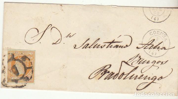 FRONTAL : SELLO 52. CORUÑA A PRADOLUENGO (BURGOS). 1862. (Sellos - España - Isabel II de 1.850 a 1.869 - Cartas)