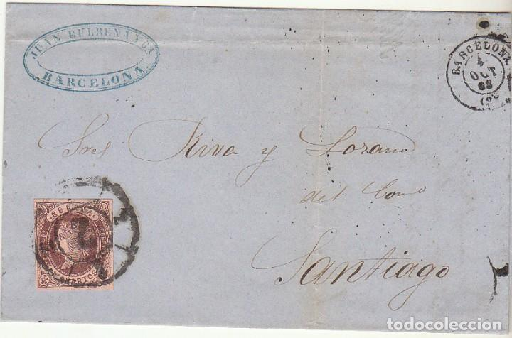 SELLO 58. ISABEL II : BARCELONA A SANTIAGO. 1863. (Sellos - España - Isabel II de 1.850 a 1.869 - Cartas)