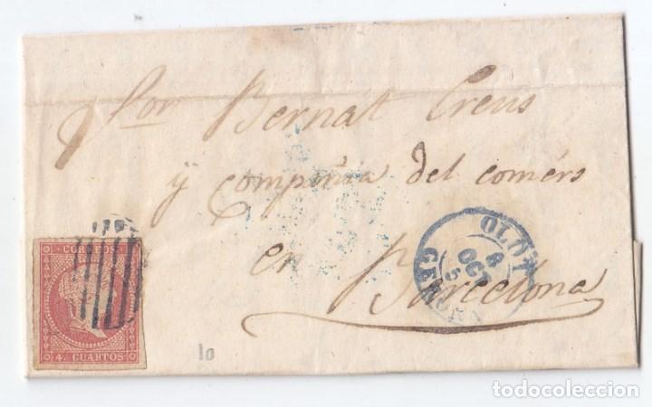 CARTA ENTERA DE OLOT. GIRONA. 1856. FECHADOR AZUL CATALUÑA. (Sellos - España - Isabel II de 1.850 a 1.869 - Cartas)