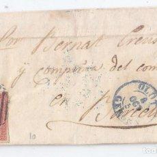Sellos: CARTA ENTERA DE OLOT. GIRONA. 1856. FECHADOR AZUL CATALUÑA.. Lote 75112631