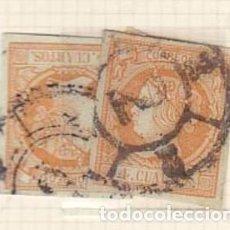 Sellos: RUEDA DE CARRETA 2 DE BARCELONA - VARIEDAD RARA DE DOBLE CIRCULO - TAL FOTO AÑO 1860 ISABEL II. Lote 75605071