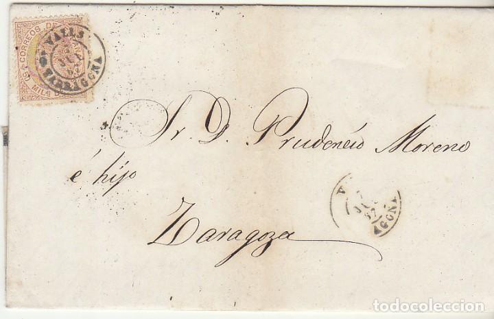 SELLO 96 : VALLS (TARRAGONA) A ZARAGOZA .1867. (Sellos - España - Isabel II de 1.850 a 1.869 - Cartas)