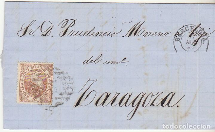 SELLO 96 : BARCELONA A ZARAGOZA. 1867. (Sellos - España - Isabel II de 1.850 a 1.869 - Cartas)