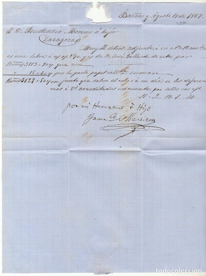 Sellos: Sello 96 : BARCELONA a ZARAGOZA. 1867. - Foto 3 - 75677559