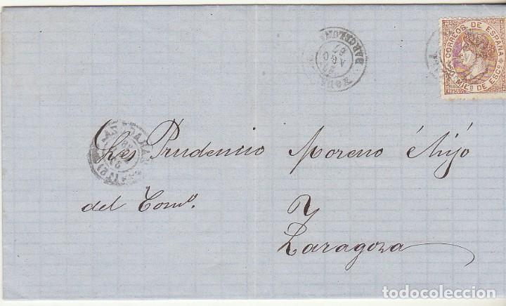 SELLO 96 : YGULADA A ZARAGOZA . 1867. (Sellos - España - Isabel II de 1.850 a 1.869 - Cartas)