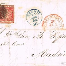 Sellos: 0175. CARTA ENTERA DOBLE PORTE BARCELONA 1854, FECHADOR BAEZA Y PARRILLA . Lote 75688579