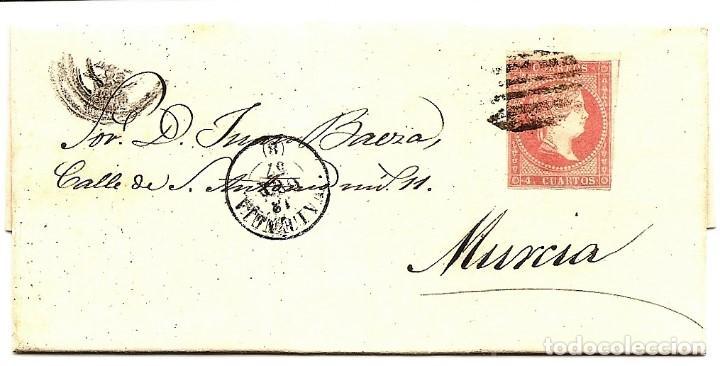 ENVUELTA CIRCULADA DE VALENCIA A MURCIA - SELLO 4 CUARTOS AÑO 1857 (Sellos - España - Isabel II de 1.850 a 1.869 - Cartas)