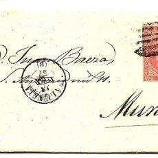 Sellos: ENVUELTA CIRCULADA DE VALENCIA A MURCIA - SELLO 4 CUARTOS AÑO 1857. Lote 205762681