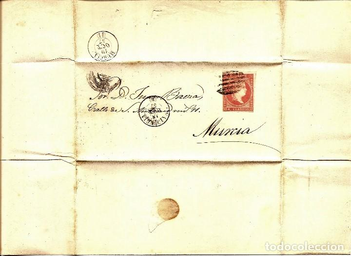 Sellos: ENVUELTA CIRCULADA DE VALENCIA A MURCIA - SELLO 4 CUARTOS AÑO 1857 - Foto 3 - 205762681