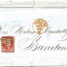 Sellos: ENVUELTA CIRCULADA DE ALICANTE A BARCELONA - SELLO 4 CUARTOS AÑO 1856. Lote 77604173